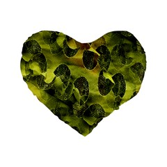 Olive Seamless Camouflage Pattern Standard 16  Premium Flano Heart Shape Cushions