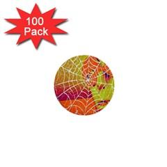 Orange Guy Spider Web 1  Mini Buttons (100 Pack)  by Nexatart