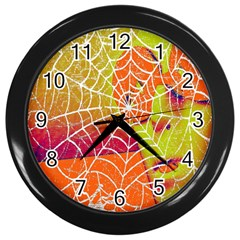 Orange Guy Spider Web Wall Clocks (black) by Nexatart
