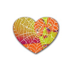 Orange Guy Spider Web Rubber Coaster (heart)  by Nexatart