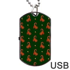 Paisley Pattern Dog Tag Usb Flash (two Sides) by Nexatart