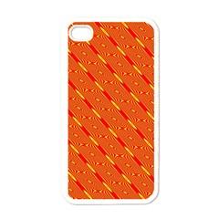 Orange Pattern Background Apple Iphone 4 Case (white)