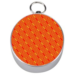 Orange Pattern Background Silver Compasses