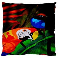 Papgei Red Bird Animal World Towel Large Flano Cushion Case (one Side) by Nexatart