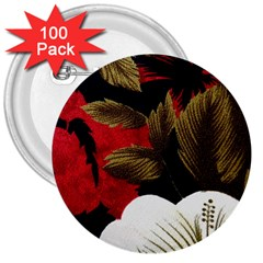 Paradis Tropical Fabric Background In Red And White Flora 3  Buttons (100 pack)  by Nexatart