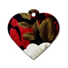 Paradis Tropical Fabric Background In Red And White Flora Dog Tag Heart (two Sides) by Nexatart