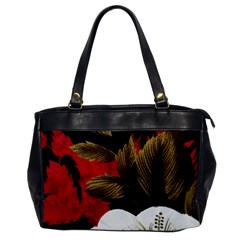 Paradis Tropical Fabric Background In Red And White Flora Office Handbags by Nexatart