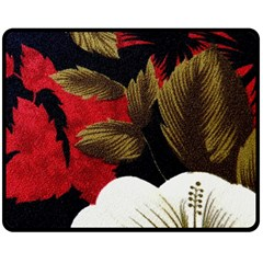 Paradis Tropical Fabric Background In Red And White Flora Fleece Blanket (medium)  by Nexatart