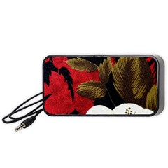 Paradis Tropical Fabric Background In Red And White Flora Portable Speaker (black)