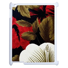 Paradis Tropical Fabric Background In Red And White Flora Apple Ipad 2 Case (white)