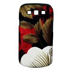 Paradis Tropical Fabric Background In Red And White Flora Samsung Galaxy S Iii Classic Hardshell Case (pc+silicone)