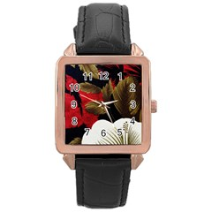 Paradis Tropical Fabric Background In Red And White Flora Rose Gold Leather Watch