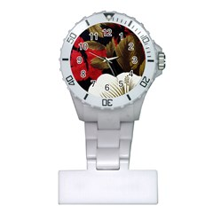 Paradis Tropical Fabric Background In Red And White Flora Plastic Nurses Watch