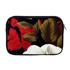 Paradis Tropical Fabric Background In Red And White Flora Apple Macbook Pro 17  Zipper Case by Nexatart