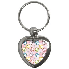 Owl Bird Cute Pattern Key Chains (heart)  by Nexatart
