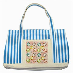 Owl Bird Cute Pattern Striped Blue Tote Bag by Nexatart