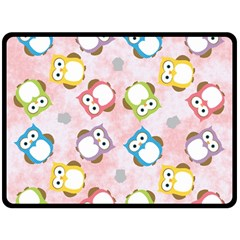 Owl Bird Cute Pattern Fleece Blanket (large)  by Nexatart