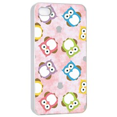 Owl Bird Cute Pattern Apple Iphone 4/4s Seamless Case (white)