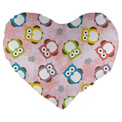 Owl Bird Cute Pattern Large 19  Premium Flano Heart Shape Cushions
