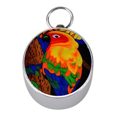 Parakeet Colorful Bird Animal Mini Silver Compasses