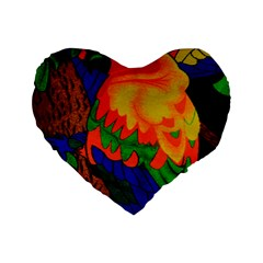 Parakeet Colorful Bird Animal Standard 16  Premium Flano Heart Shape Cushions by Nexatart
