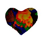 Parakeet Colorful Bird Animal Standard 16  Premium Flano Heart Shape Cushions Back