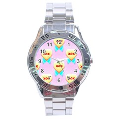 Pastel Heart Stainless Steel Analogue Watch by Nexatart
