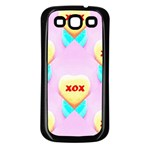 Pastel Heart Samsung Galaxy S3 Back Case (Black) Front