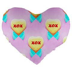 Pastel Heart Large 19  Premium Flano Heart Shape Cushions