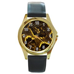 Pattern Skins Snakes Round Gold Metal Watch