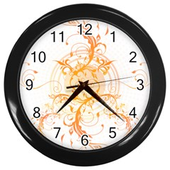 Orange Swirls Wall Clocks (black) by SheGetsCreative