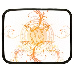 Orange Swirls Netbook Case (xl)  by SheGetsCreative
