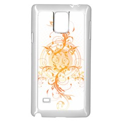 Orange Swirls Samsung Galaxy Note 4 Case (white) by SheGetsCreative