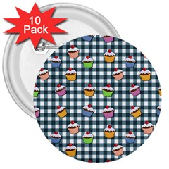 Cupcakes Plaid Pattern 3  Buttons (10 Pack)  by Valentinaart
