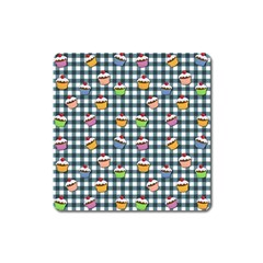 Cupcakes Plaid Pattern Square Magnet by Valentinaart