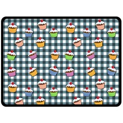 Cupcakes Plaid Pattern Double Sided Fleece Blanket (large)  by Valentinaart