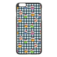 Cupcakes Plaid Pattern Apple Iphone 6 Plus/6s Plus Black Enamel Case by Valentinaart