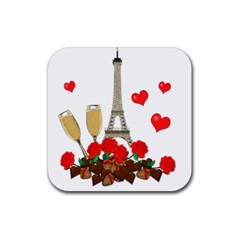 Romance In Paris Rubber Square Coaster (4 Pack)  by Valentinaart