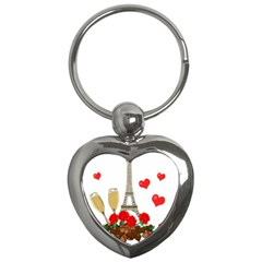 Romance In Paris Key Chains (heart)  by Valentinaart