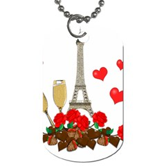Romance In Paris Dog Tag (one Side) by Valentinaart