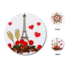 Romance In Paris Playing Cards (round)  by Valentinaart