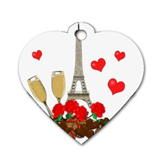 Romance In Paris Dog Tag Heart (one Side) by Valentinaart