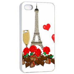 Romance In Paris Apple Iphone 4/4s Seamless Case (white) by Valentinaart