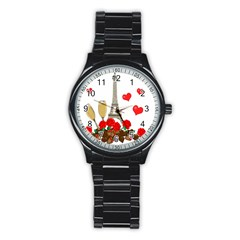 Romance In Paris Stainless Steel Round Watch by Valentinaart