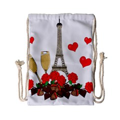 Romance In Paris Drawstring Bag (small) by Valentinaart