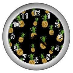 Pineapples Wall Clocks (silver)  by Valentinaart