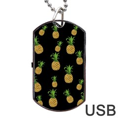 Pineapples Dog Tag Usb Flash (one Side) by Valentinaart