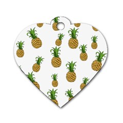 Pineapples Pattern Dog Tag Heart (two Sides) by Valentinaart