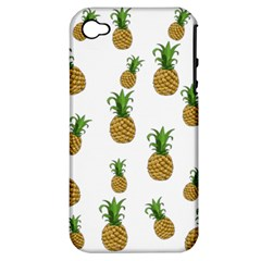 Pineapples Pattern Apple Iphone 4/4s Hardshell Case (pc+silicone) by Valentinaart