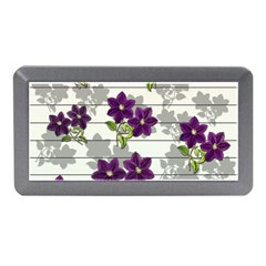 Purple Vintage Flowers Memory Card Reader (mini) by Valentinaart